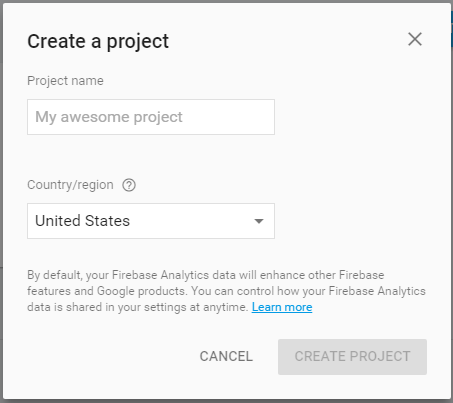 firebase console add project